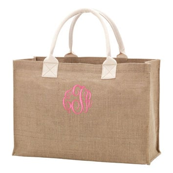 Burlap Tote Bag Monogrammed Personalized Boat Bag with Handles