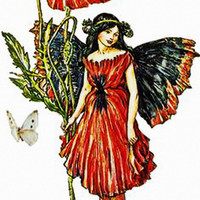 Red Fairy Image, Red Fairy Cutout, Large Vintage Storybook Graphics [[Flower Child]]Transfer Template. Fairy Template,Transparent Background
