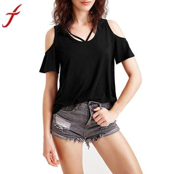 2017 Summer Hot Women Casual Summer Elegant Blouse Short Sleeve Off Shouder Top  O Neck Black Red Plus Size Shirt