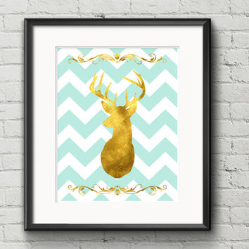 Rustic Chic Gold Deer With Antlers Silhouette On Tiffany Blue And White Chevron Background - Art Print Gift Item Home Decor