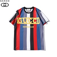 GUCCI 2019 new striped color matching fashion wild round neck half sleeve T-shirt