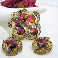 Vintage Raspberry Rivoli AB Rhinestone Brooch Earrings