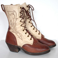 Vintage 1970s Tan and Cream Leather Lace Up Roper Boots // Wrangler// Rugged Western Boots// Women's Shoes// Size 6.5