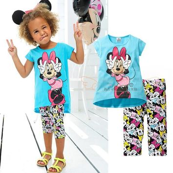 Baby girl's clothing sets sky blue t shirt +pants casual tracksuits kids sports clothes summer wear hot girls outfits