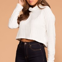 Grace White Knit Crop Turtleneck Sweater