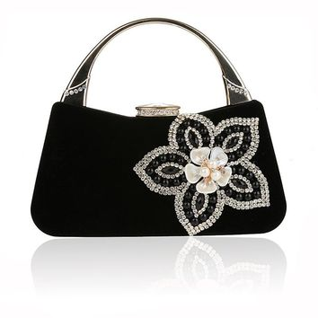 Black Luxury Brand Women Diamond Flower Evening Bag Red Velvet Rhinestones Day Clutch for Wedding Bridal Party Wallet with Chain