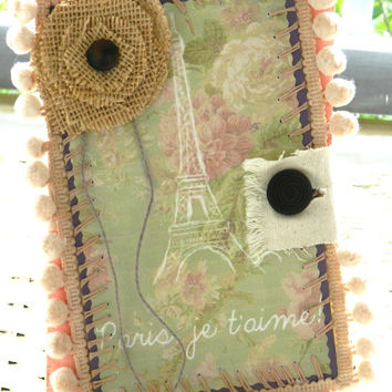 shabby paris greeting card handmade friendship eiffel tower pom pom burlap pink green romantic