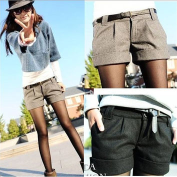2015 autumn and winter women's turn-up straight woolen bootcut short pants plus large big size casual shorts black grey