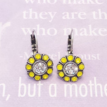 CRYSTAL FLOWER EARRINGS, swarovski,diamond crystal, yellow opal, daisy, lever back, great gift, popular, small, lightweight, drops, dangles