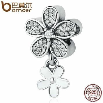 BAMOER 925 Sterling Silver Dazzling Daisy Duo, White Enamel & Clear CZ Pendant Charms fit Bracelets & Necklaces Jewelry PSC077
