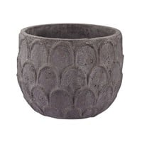 Aged Powdered Lotus Petal-Carved Pot - Small Dark Grey Stone