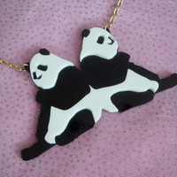 Acrylic PANDAS Necklace by imyourpresent on Etsy