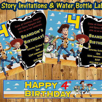 Toy Story Birthday Invitations and Water Bottle Labels (digital download). Woody, toys, invite,  invitations,  invitation, 4x6, pic paper