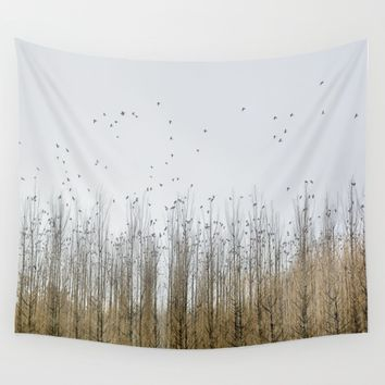 Wild Birds Flying. Foggy Sunrise Wall Tapestry by Guido Montañés