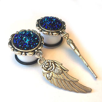 Ear Plugs with wings and roses, blue druzy bead in silver setting, ear gauges dangle ( 10mm, 12mm, 14mm, 16mm/ 00g, 1/2″, 9/16″, 5/8″, )
