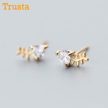 Trusta 100% 925 Real Sterling Silver Fashion Cute Tiny Gold CZ  Fishbone 5mmX9mm Stud Earrings Gift For Womens Jewelry DS512