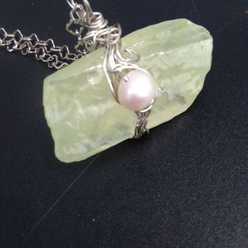 Lemon Quartz  Necklace Rough Raw Citrine Quartz and Pearl Necklace pendant On Stainless Chain