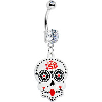 Rose Petals Sugar Skull Belly Ring