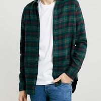 Green Check Long Sleeve Flannel Shirt