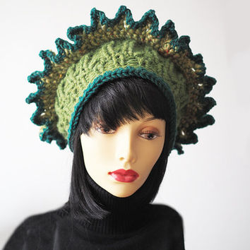 Chunky knit hat - Ready to Ship - Ruffle knit green crown - Fashion knit hat - Tall green hat - Crochet crown - Womans warm hat - OOAK hat