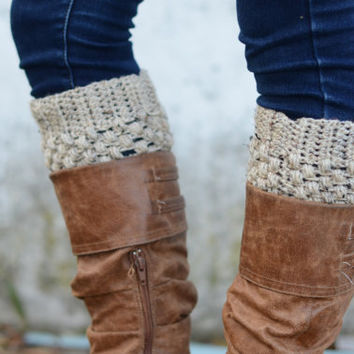 Womens Boot Cuffs // Boot Socks // Boot Toppers // Oatmeal // Puffy Boot Cuffs // Delivered After Christmas