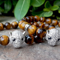 Men's Tiger's Eye Gemstone White Gold Leopard Head Bracelet, Mens Womans Bling Gold Leopard Bracelet, Couples Fashion