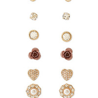 Faux Gem Flower Stud Set