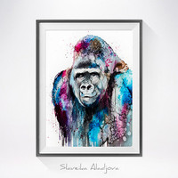 Gorilla watercolor painting print, Monkey art, Gorilla art, animal watercolor, animals painting, Gorilla illustration, art print
