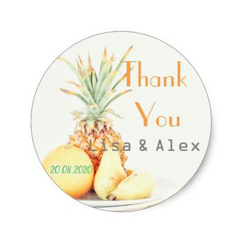 Fruit Plate Pineapple Thank You Wedding Sticker