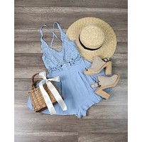 First Lace Winner Microfiber Romper - Blue