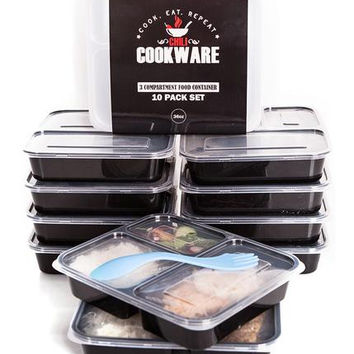 3 Compartment Meal Prep Containers (10 PACK)