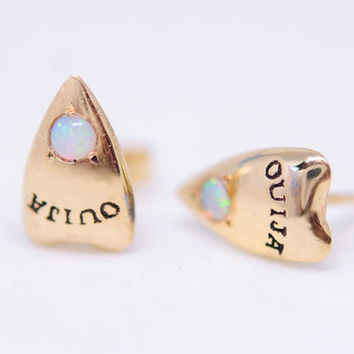 Ouija Planchette Earrings (Opal)