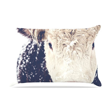 "Debbra Obertanec ""Snowy Cow"" Black White Pillow Sham"