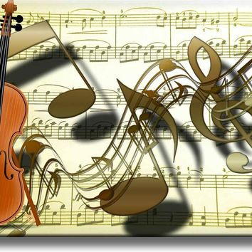 Music Notes Violin Picture on Acrylic , Wall Art Décor, Ready to Hang