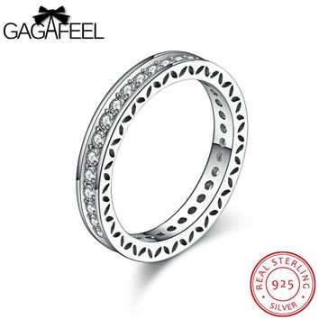 GAGAFEEL Rings For Women 925 Sterling Silver Jewelry Simple Wedding Ring Accessorise US Size 4-9 Pave Clear CZ Zircon Bijouterie