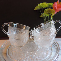 "Mid Century Anchor HockingCrystal Sandwich Pattern Dessert, Salad Luncheon Plates and Cups with cup insert  9"" plates cups  Depression Glass"