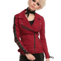 Joan Jett Tripp NYC Red Twill Moto Jacket