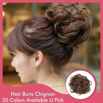 1PC Synthetic Chignon Hairpieces Draw String Clip In Hair
