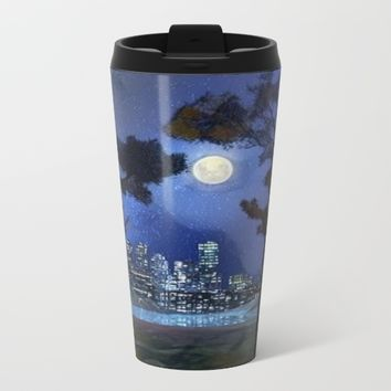 city life at night Metal Travel Mug by Coffee Cup Heaven