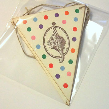 Vintage Circus Banner - Elephant & Giraffe - Birthday Party Animals