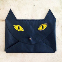 Handmade Leather navy blue and yellow envelope style cat wallet with copper hardware