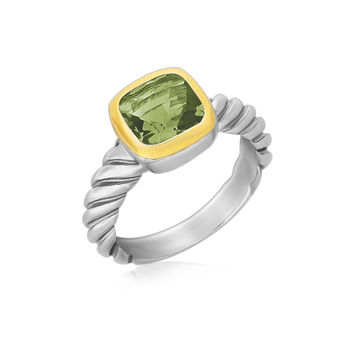18K Yellow Gold and Sterling Silver Cable Shank Green Amethyst Ring