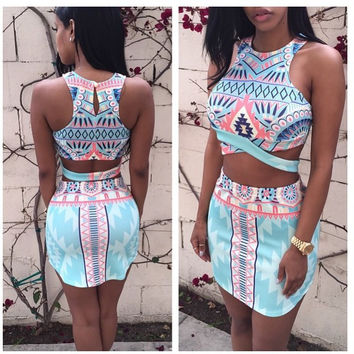 Fashion printed sleeveless  two-piece suit dress 113526