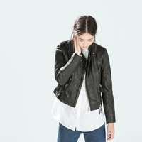 Casual Black Faux Leather Long Sleeve Jacket
