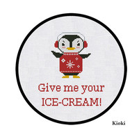 Cross Stitch Pattern Penguin and ice-cream Instant Download