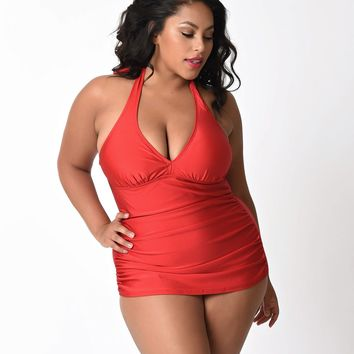 Bettie Page Plus Size Retro Red Halter Top Ruched One Piece Swimsuit