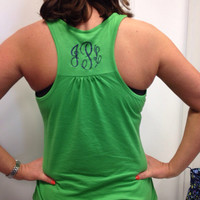 Monogrammed Flowy Racerback Workout Tank Top- Perfect for Working Out, Housework, Beach Trips, Bridesmaids, Sororities, Greek, and More