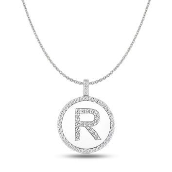 """R"" Diamond Initial 14K White Gold Disk Pendant (0.57ct)"