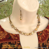 Earthtone Necklace and Earring set with Gold, Brown, Green, Gift for her, Women's necklace