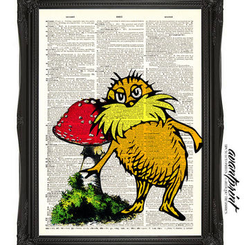 I Speak For the Trees Lorax Original Collage Print on Antique Unframed Upcycled Bookpage